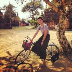 """37 Likes, 6 Comments - Justin Khoo (@justinkhoo) on Instagram: """"It's surprisingly liberating to #cycle in a #longyi #bagan #burma #myanmar"""""""