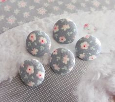 Fabric Buttons Covered Button Floral Button Gray Pink by RetroNaNa, $4.20