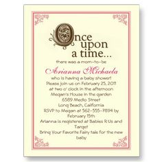 once upon a time baby invites