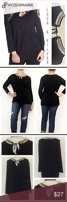 """⚡️1HRSALE Black Silver Collar Peasant Top MLXL Such a Fun twist on this boho peasant top with the silver embellishments around the entire collar! WowTassel tie at neck & super soft. 95% Polyester/5% SpandexNew from maker without tags  Measurements laying flat:  Medium Chest 18"""" Length 24"""" Large Chest 19"""" Length 25"""" XL Chest 20"""" Length 26"""" Tops"""