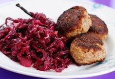Frikadeller and red cabbage...yum!  shout out to all Danish people out there