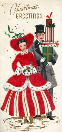 Vintage Christmas Card Families Greetings Old Fashioned Dress Unused Glitter. Chrismas Cards, Vintage Christmas Cards, Retro Christmas, Vintage Holiday, Christmas Greeting Cards, Christmas Colors, Christmas Greetings, Christmas Girls, Christmas Couple
