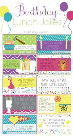 Birthday Lunch Box Jokes - Fun way to make your kids feel special on their birthday when they are at school. http://Capturing-Joy.com