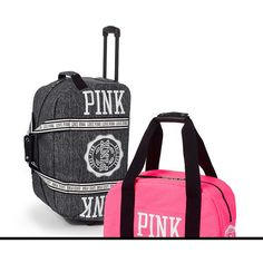 PINK 3-piece Travel Set ($148) ❤ liked on Polyvore featuring bags, luggage and blackgreyivory