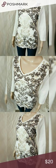 NWOT Chico's Zenergy Foil Tee This classy ivory foil top with 3/4 sleeves is brand new without tags. Soft and luxurious for everyday wear.  Size 2=Fits like a Large Chico's Tops Blouses