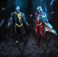Shazam and black adam Ms Marvel, Dc Comics Vs Marvel, Captain Marvel Shazam, Arte Dc Comics, Deadpool Comics, Batgirl, Catwoman, Comic Character, Character Design