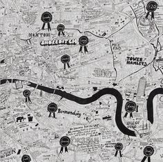The ribbons are great little visual and verbal descriptors, in a map of London from JoJo Oldham