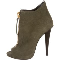 Pre-owned Giuseppe Zanotti Ankle Boots ($265) ❤ liked on Polyvore featuring shoes, boots, ankle booties, green, short boots, open toe ankle booties, open toe booties, open toe bootie and green suede booties