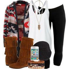 basics: black leggings, white tank top accessories: aztec cardigan, boots, jewellery
