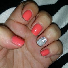Peachy Coral With Sparkles