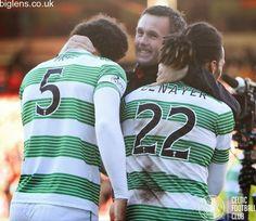 Aberdeen 1-2 Celtic, 9th November 2014. Ronny Deila congratulates defensive duo Virgil van Dijk and Jason Denayer.