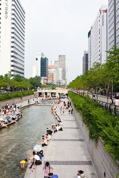 Cheonggyecheon Stream in Gwanghwamun Plaza, Seoul, South Korea. Places Around The World, The Places Youll Go, Travel Around The World, Places To See, Around The Worlds, South Korea Travel, South Korea Seoul, Urban Landscape, Brunei