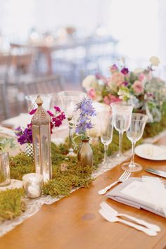 Lace runners with moss + eclectic assortment of flowers and decor. See more on Style Me Pretty: http://www.StyleMePretty.com/2014/03/11/romantic-garden-wedding-at-caramoor/ Photography: Elisabeth Millay