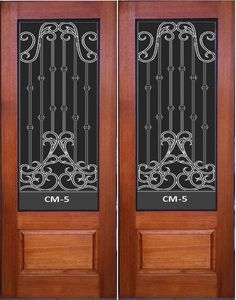 Solid Timber Wrought Iron Entrace Door With Safety Glass