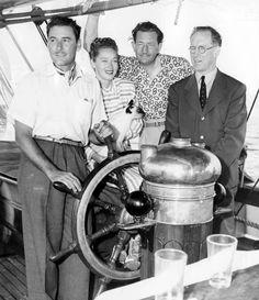 L.A. Times photo from Aug. 8, 1946 of Errol Flynn, his wife Nora Eddington Flynn, their cat Henrietta, set designer John Decker and the actor's father Theodore Thomson Flynn