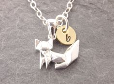 Origami is a Japanese paper craft. This origami fox charm was made of solid sterling silver. Put an initial on the baby disc (optional) for a personal touch! Grandma Necklace, Mother Daughter Necklace, Dog Necklace, Initial Necklace, Family Tree Necklace, Tree Of Life Necklace, Silver Necklaces, Silver Jewelry, Delicate Jewelry