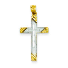 14k Yellow Gold Rhodium Plated Cross Pendant