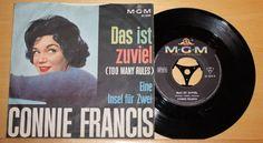 """CONNIE FRANCIS - Das ist zuviel + Eine Insel für Zwei - Vinyl 7"""" MGM - PS"""