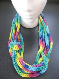 Crocheted Icord necklace-scarf.  100% cotton.
