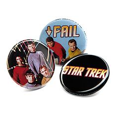 Star Trek Button Pins: a set of 10, they're perfect for sharing with like-minded friends or hoarding all for yourself. We won't tell. I need this.