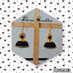 handmade jewellery, Black & Golden #silkthreadearrings  Shraa Creation