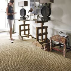 FLOR floor tile coming-along tan. inspired by natural fiber baskets and sisal