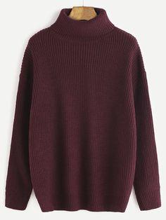 Burgundy Roll Neck Drop Shoulder Sweater