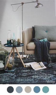 Vintage - Vintage inrichting. Mooie kleuren voor in het interieur - turquoise - blauw - petrol - bruin - grijs. Woonkamer - vloerkleed Bonaparte