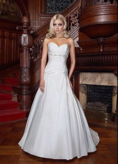 Fashionable princess empire waist taffeta wedding dress