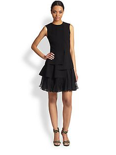Oscar de la Renta Layered Flutter-Hem Dress $2390