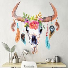 Crazy cool! This chic cow skull decor will add color and class to your walls! Decorated with colorful feathers and gorgeous flowers, our bull skull dream catcher decal is artistic and vibrant and will look great in your office, bedroom or place of business. You'll love the material, as it is made of a fabric decal material that is super easy to put up and equally easy to reposition and remove. Simply peel and stick for instant shabby chic Native American decor!