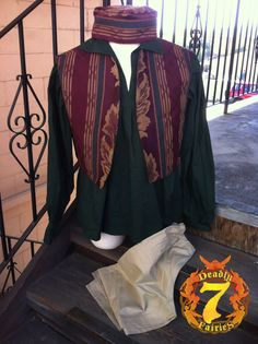 e055b4b42660f Items similar to Men s Faire Set - Burgundy Gypsy Vest and Matching Hat on  Etsy