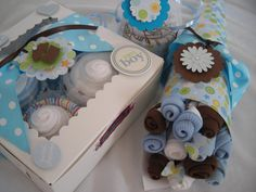 Baby Boy Sweet Trio Gift Set by YummyWearDiaperCakes on Etsy