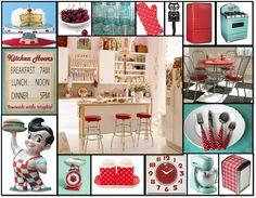 red/aqua kitchen stuff and felix the cat!