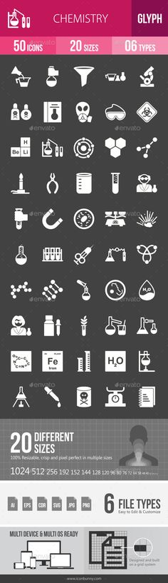 Chemistry Glyph Inverted Icons