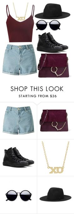"""Untitled #951"" by meloprea ❤ liked on Polyvore featuring Miss Selfridge, Chloé, Converse, Jennifer Meyer Jewelry, Monki, Summer and HotDays"