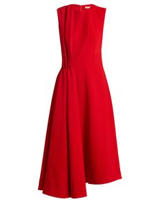 Emilia Wickstead Vivian Round-neck Pleat-detail Wool Dress In Postbox-red Simple Dresses, Day Dresses, Dress Outfits, Fashion Dresses, Formal Dresses, Winter Dresses, Structured Dress, Ladylike Style, Groom Dress