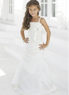2015 Bowknot Spaghetti Straps Ivory Satin Sleeveless Ruched Floor Length Flower Girl Dresses By Alexia FGD28