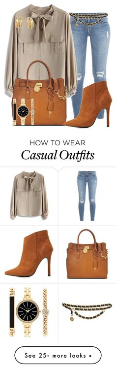 """casual"" by alice-fortuna on Polyvore featuring Frame Denim, Chicwish, Chanel, Michael Kors, Charlotte Russe, Style & Co. and de Grisogono"