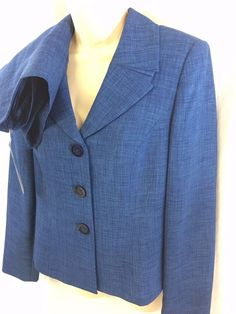 Le Suit 2PC Skirt Suit Nautical Blue Size 6 Three Button Business Classic NWT #LeSuit #SkirtSuit