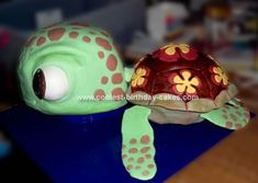 Homemade Squirt 3D Turtle Cake: This Squirt 3D Turtle Cake was made for a 20 year old girl who had wanted a Squirt cake ever since the movie came out. I wanted him to have a bit more