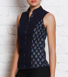 Blue Mangalgiri Cotton Block Printed Chinese Collar Top