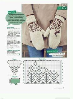 Crochet Mittens, Mittens Pattern, Knitted Gloves, Knit Crochet, Knitting Charts, Knitting Patterns, Knitting Projects, Crochet Projects, Fair Isle Pattern