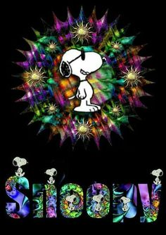 Psychedelic Snoopy---I love it! Peanuts Gang, Peanuts Cartoon, Charlie Brown And Snoopy, Peanuts Comics, Snoopy Love, Snoopy And Woodstock, Peanuts Characters, Cartoon Characters, Snoopy Family
