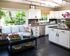 Loving The White Kitchen And Vibrant Flowers Couches