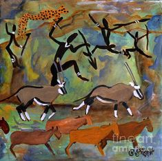 Hunters and Gemsbok Rock Art by Caroline Street African Art, Figurative Art, Rock Art, Mixed Media Art, Irene, Art For Sale, Art Inspo, Moose Art, Original Art