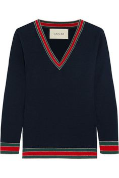 Multicolored wool Slips on Fabric1: 100% wool; fabric2: 72% wool, 20% viscose, 8% metalized fiber; trim: 85% wool, 10% viscose, 5% metalized fiber Dry clean Made in Italy GUCCI Striped wool sweater$750