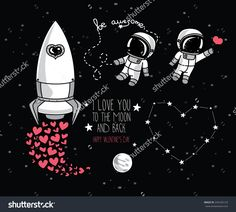 Similar Images, Stock Photos & Vectors of cute hand drawn elements for valentine's day design: moon, stars, astronauts floating in space and rocket, cosmic vector illustration - 245326123 Space Drawings, Easy Drawings, Tag Design, Astronaut Drawing, Valentines Day Drawing, Happy Fox, Floating In Space, Conversational Prints, School Murals