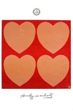 Pink Hearts x 4, Warhol c. 1979-84