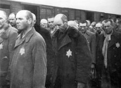 """Auschwitz, a group of men waiting for """"selection"""" - from the Auschwitz Album"""